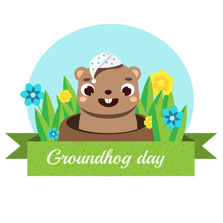 Groundhog day greeting banner. Seasonal calendar card with funny cartoon sleepy groundhog looking out from hole Ilustracja