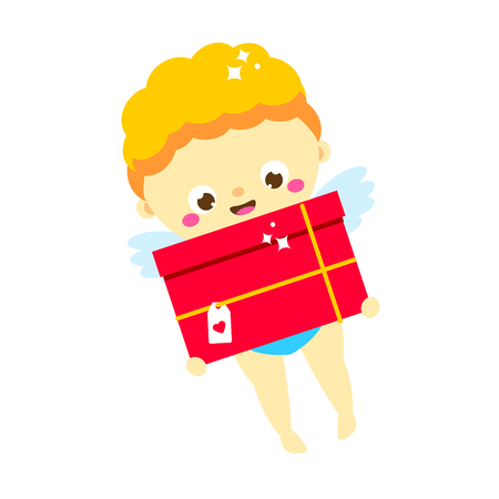 Cute Cupid with gift box. cartoon St Valentines day character. Amur boy deliver valentines post, present. Isolated angel for romantic design