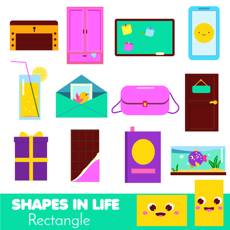 Shapes in life. Rectangle. Learning cards for kids. Educational infographic for children and toddlers. Study geometric shapes. Visual aid