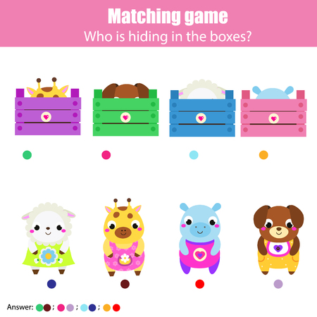 Educational game for children, kids activity. Match animals with box. Fun page for pre school years toddlers