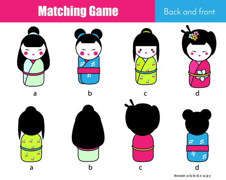 Matching game. Educational children activity with japanese dolls. Learning back and front
