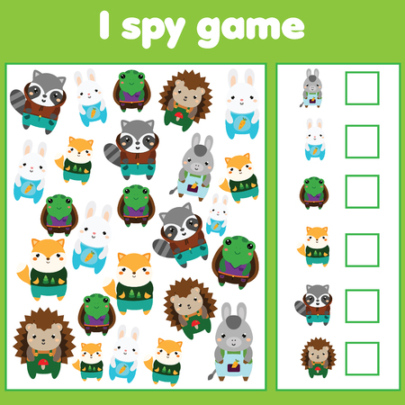 I spy game for toddlers. Find and count objects. Counting educational activity for children and kids. Cute animals