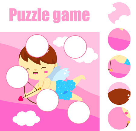 jigsaw Puzzle for toddlers. Find the missing part of picture. Educational children game. St Valentines day theme fun page with cute cartoon Cupid