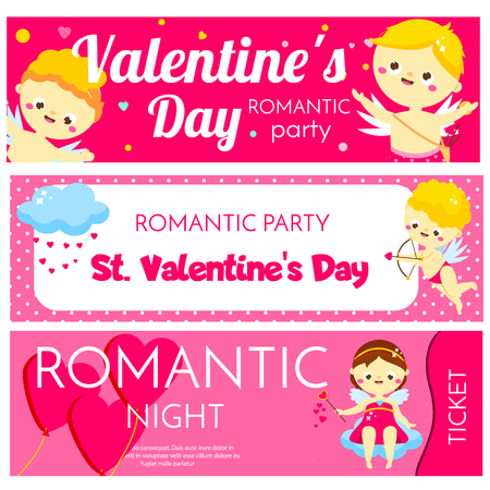 Valentines day horizontal banners. Invitations, flyers with cute cartoon Cupids characters. Promo design, tickets for party, dating night, gift vouchers Archivio Fotografico - 125858604