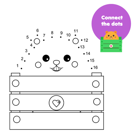 Connect the dots. Children educational game. Dot to dot by numbers for kids. Animals theme worksheet activity for toddlers with cartoon hamster Ilustração Vetorial