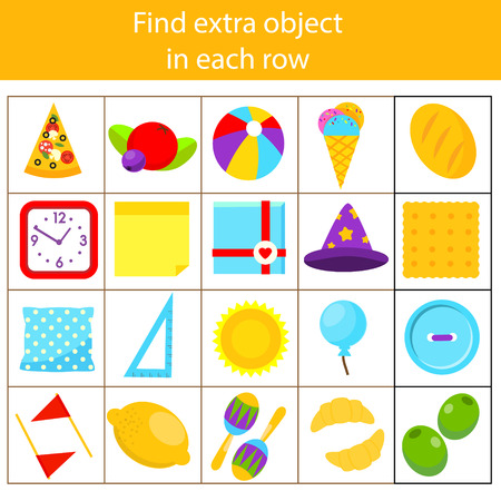 Educational children game. Logic game. What does not fit type. Find odd one, extra object fun page for kids and toddlers. Learning colors, shapes 向量圖像