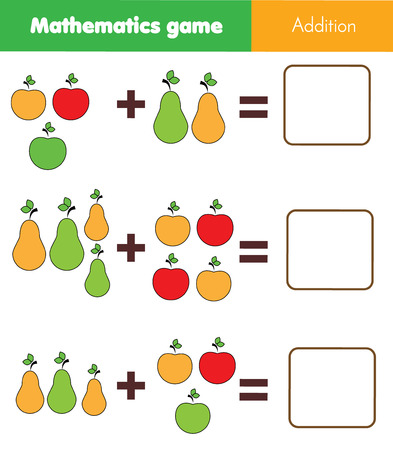 Juego educativo de matemáticas para niños. Contando ecuaciones. Hoja de trabajo de suma con frutas