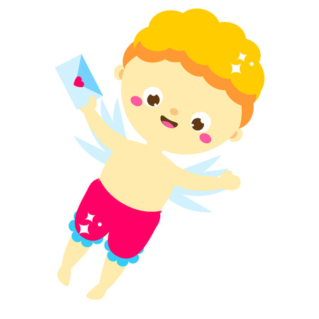 Cute Cupid with love letter. cartoon St Valentines day character. Amur boy deliver valentines post, cards. Isolated angel for romantic design