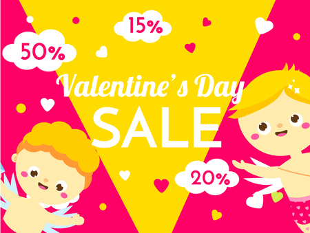 Valentines day sale banner with cute cartoon Cupids characters. Promo background for seasonal offer. Advertisement flyer template Archivio Fotografico - 125858618