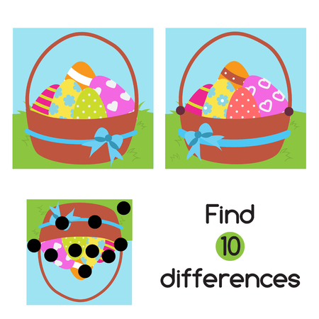 Find the differences. Educational children game. Easter theme fun page. activity for pre school years kids Ilustrace