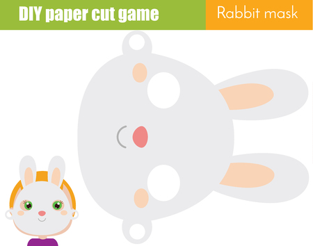 DIY children educational creative game. Make an animal party mask with scissors. Hare face. Rabbit paper mask for kids printable sheet