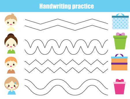 Handwriting practice sheet. Educational children game, printable worksheet for kids. Tracing Waves Ilustrace