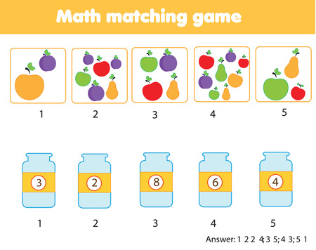Mathematics educational game for children. Match objects with numbers. Counting game for kids.