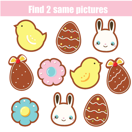 Children educational game. Find two same pictures. Easter cookies. Activity fun page for toddlers and babies