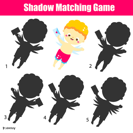 Shadow matching game. Cute Cupid. Kids activity. valentines day theme fun page for toddlers and pre school age