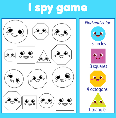 I spy game for toddlers. Find and count objects. Educational activity for children. Learning geometric shapes Illustration