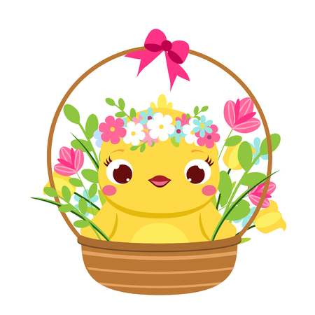 Cute chicken sit in flower basket. Cartoon funny chick with bunny ears. Isolated character for spring seasonal design