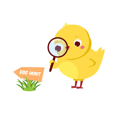 Cute chicken going to Easter egg hunt. Cartoon funny chick with magnifier. Isolated character for spring seasonal design.