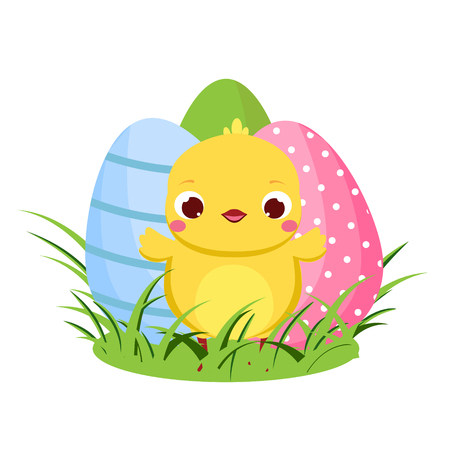 Cute chicken and Easter eggs. Cartoon funny chick for spring design, seasonal greetings, cards Çizim