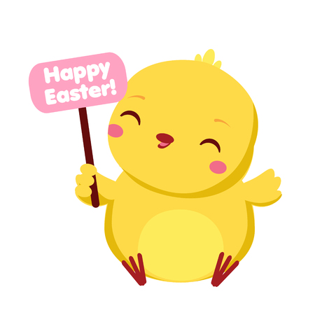 Cute chicken with Happy Easter banner. Cartoon funny baby chick. Isolated character for spring seasonal design.