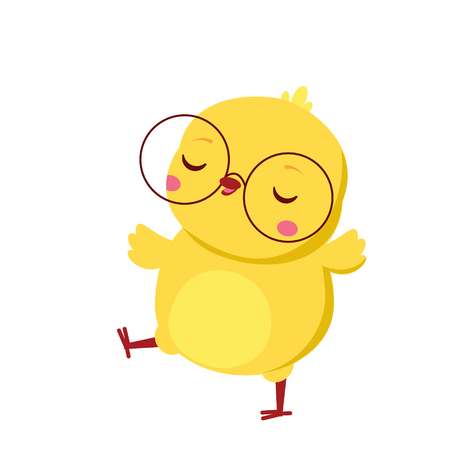 Cute chicken. Cartoon funny baby chick in eyeglasses. Isolated character for spring seasonal design.