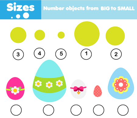 educational children game. Match by size. Learning activity for kids and toddlers. Study big and small. Easter theme Ilustrace