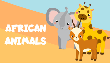 Cute cartoon african animals. Elephant, giraffe, antelope. Vector banner. Ilustracja