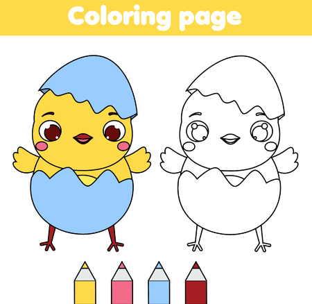 Coloring page with cartoon chicken. Drawing kids activity. Printable fun for toddlers and children. Easter theme. Ilustrace