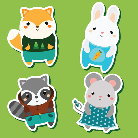 Cute kawaii animals stickers set. Vector illustration. Fox, rabbit, raccoon, mouse. Children style, isolated design elements for kids. Icons