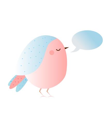 Cute kawaii bird with speech bubble. Vector icon.