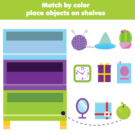 Educational children game. Match objects by color. Activity for pre school kids and toddlers. Learning colors 일러스트