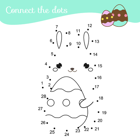 Connect the dots. Children educational game. Dot to dot by numbers for kids and toddlers fun. Cute Easter bunny with egg