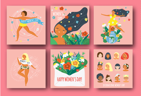 International Womens Day. Happy females of different nationalities and religions. Set of templates for card, poster, banner. Vector illustration for 8 march