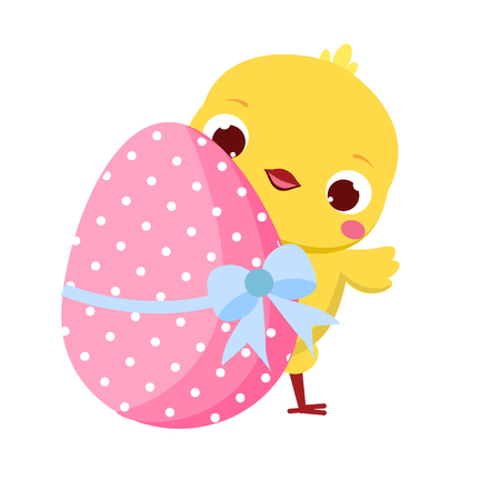Cute chicken and Easter egg. Cartoon funny chick for spring design, seasonal greetings, cards