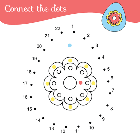 Connect the dots. Children educational game. Dot to dot by numbers for kids and toddlers fun. Color Easter egg Vector Illustration
