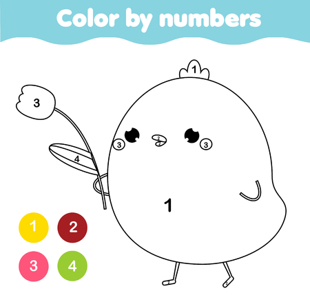 Coloring page for kids. Educational children game. Color by numbers. Easter theme activity. Cute chicken