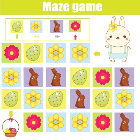 Easter activity for kids. Maze game. Labyrinth with navigation. Help easter rabbit find eggs. Fun activity for pre school kids and toddlers. learning left, right, up and down.