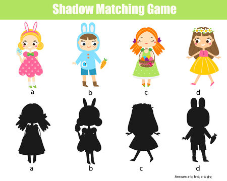 Shadow matching game. Connect object with silhouette. Easter kids activity
