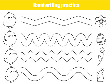 Handwriting practice sheet. Educational children game. Basic writing skills early education. Easter theme worksheet for kids. Funny chickens