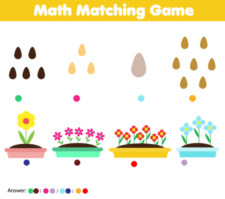Mathematics educational game for children. Match seeds and flowers. Counting game for pre school age kids and toddlers