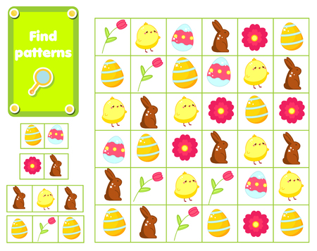 Children educational game. Find and show patterns. Easter activity for pre school years kids and toddlers. Ilustração
