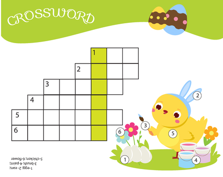 Educational game for children. easter Crossword for kids and toddlers. learning vocabulary.