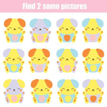 Children educational game. Find two same pictures. Cute dogs. Activity fun page for toddlers and babies