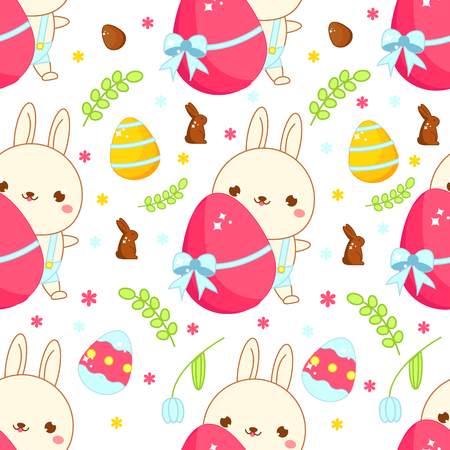 Easter seamless pattern. Background with easter rabbit and eggs in cartoon kawaii style. Vector template for packages, textile, prints