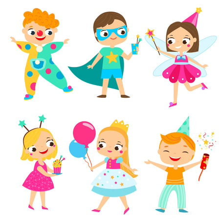 Party kids. Children in costumes having fun. Cartoon boys and girls for Birthday, celebration and holidays design