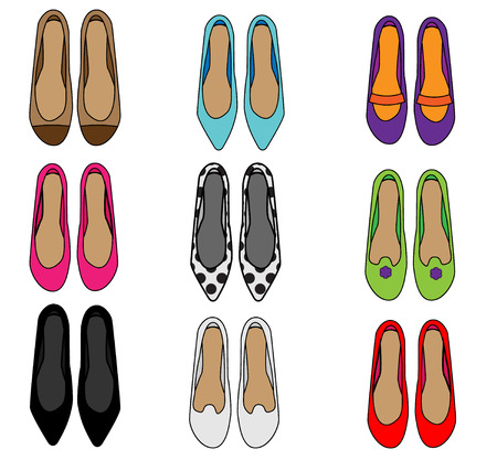 Woman shoes top view. Female fashion slippers set. Collection of vector icons. 스톡 콘텐츠
