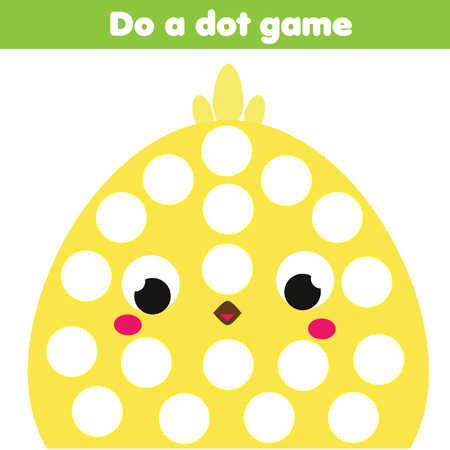 Eduational children game. Do a dot for kids and toddlers. Animals theme, cartoon chicken. Motor skills worksheet for preschool age