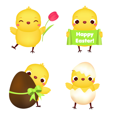 Easter chickens collection. Cute cartoon chiks with flowers, eggs and other traditional symbols for Easter celebration Illustration