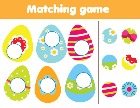Matching children educational game. Find missing part of Easter eggs. Activity for pre school age kids and toddlers Standard-Bild - 122279008