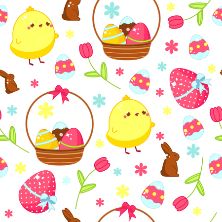 Easter seamless pattern. Background with kawaii easter chicken and eggs in cartoon style. Vector template for packages, textile, prints Illustration